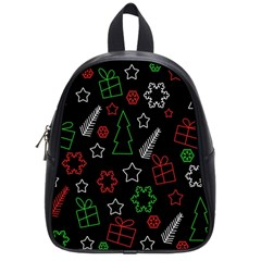 Green And  Red Xmas Pattern School Bags (small)  by Valentinaart