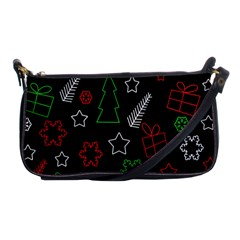 Green And  Red Xmas Pattern Shoulder Clutch Bags by Valentinaart