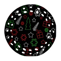 Green And  Red Xmas Pattern Ornament (round Filigree)  by Valentinaart