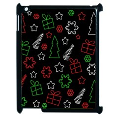 Green And  Red Xmas Pattern Apple Ipad 2 Case (black) by Valentinaart