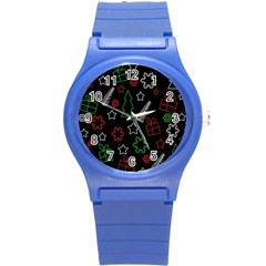 Green And  Red Xmas Pattern Round Plastic Sport Watch (s) by Valentinaart