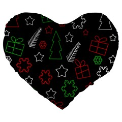 Green And  Red Xmas Pattern Large 19  Premium Heart Shape Cushions by Valentinaart