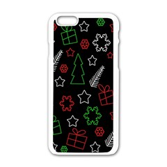 Green And  Red Xmas Pattern Apple Iphone 6/6s White Enamel Case by Valentinaart