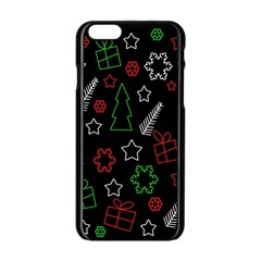 Green And  Red Xmas Pattern Apple Iphone 6/6s Black Enamel Case by Valentinaart