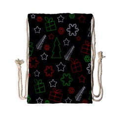 Green And  Red Xmas Pattern Drawstring Bag (small) by Valentinaart