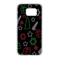 Green And  Red Xmas Pattern Samsung Galaxy S7 Edge White Seamless Case by Valentinaart