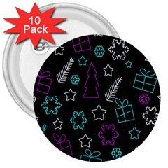 Creative Xmas Pattern 3  Buttons (10 Pack)  by Valentinaart