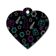 Creative Xmas Pattern Dog Tag Heart (two Sides) by Valentinaart