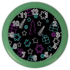 Creative Xmas Pattern Color Wall Clocks by Valentinaart