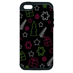 Elegant Xmas Pattern Apple Iphone 5 Hardshell Case (pc+silicone) by Valentinaart