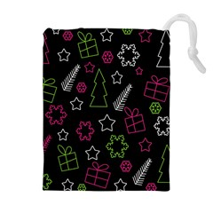 Elegant Xmas Pattern Drawstring Pouches (extra Large) by Valentinaart