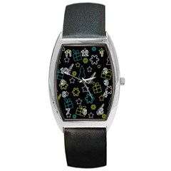 Xmas Pattern   Blue And Yellow Barrel Style Metal Watch by Valentinaart