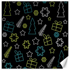 Xmas Pattern   Blue And Yellow Canvas 16  X 16   by Valentinaart