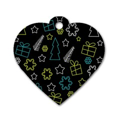 Xmas Pattern   Blue And Yellow Dog Tag Heart (one Side)