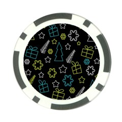 Xmas pattern - Blue and yellow Poker Chip Card Guards (10 pack)