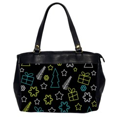 Xmas Pattern   Blue And Yellow Office Handbags (2 Sides)  by Valentinaart
