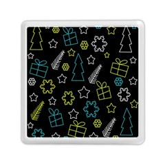 Xmas Pattern   Blue And Yellow Memory Card Reader (square)  by Valentinaart