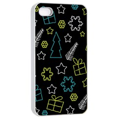 Xmas Pattern   Blue And Yellow Apple Iphone 4/4s Seamless Case (white) by Valentinaart