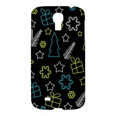 Xmas Pattern   Blue And Yellow Samsung Galaxy S4 I9500/i9505 Hardshell Case by Valentinaart