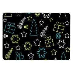 Xmas Pattern   Blue And Yellow Samsung Galaxy Tab 8 9  P7300 Flip Case by Valentinaart