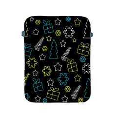 Xmas Pattern   Blue And Yellow Apple Ipad 2/3/4 Protective Soft Cases by Valentinaart