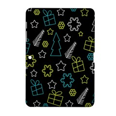 Xmas Pattern   Blue And Yellow Samsung Galaxy Tab 2 (10 1 ) P5100 Hardshell Case  by Valentinaart