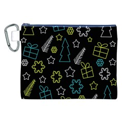 Xmas Pattern   Blue And Yellow Canvas Cosmetic Bag (xxl) by Valentinaart