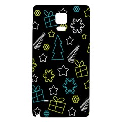 Xmas Pattern   Blue And Yellow Galaxy Note 4 Back Case by Valentinaart