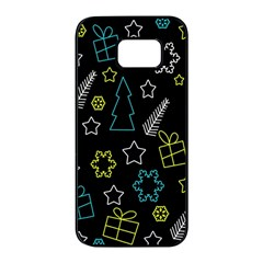 Xmas Pattern   Blue And Yellow Samsung Galaxy S7 Edge Black Seamless Case by Valentinaart