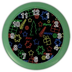Playful Xmas Pattern Color Wall Clocks by Valentinaart