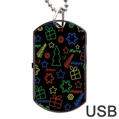 Playful Xmas Pattern Dog Tag Usb Flash (one Side) by Valentinaart
