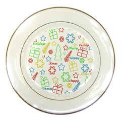 Simple Christmas Pattern Porcelain Plates by Valentinaart