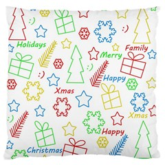 Simple Christmas Pattern Large Flano Cushion Case (one Side) by Valentinaart