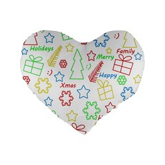 Simple Christmas Pattern Standard 16  Premium Flano Heart Shape Cushions by Valentinaart