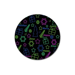 Decorative Xmas Pattern Magnet 3  (round) by Valentinaart