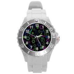 Decorative Xmas Pattern Round Plastic Sport Watch (l) by Valentinaart