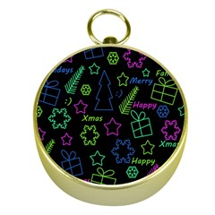 Decorative Xmas Pattern Gold Compasses by Valentinaart