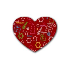 Red Xmas Pattern Heart Coaster (4 Pack)  by Valentinaart
