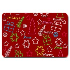 Red Xmas Pattern Large Doormat  by Valentinaart