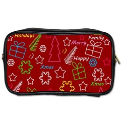 Red Xmas Pattern Toiletries Bags by Valentinaart