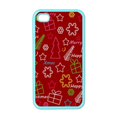 Red Xmas Pattern Apple Iphone 4 Case (color) by Valentinaart
