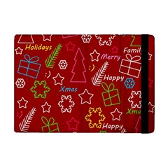 Red Xmas Pattern Apple Ipad Mini Flip Case by Valentinaart