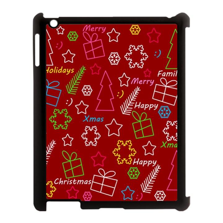 Red Xmas pattern Apple iPad 3/4 Case (Black)