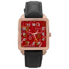 Red Xmas Pattern Rose Gold Leather Watch  by Valentinaart