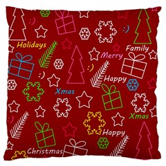 Red Xmas Pattern Large Flano Cushion Case (one Side) by Valentinaart