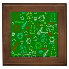 Green Xmas Pattern Framed Tiles by Valentinaart