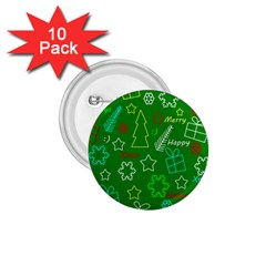 Green Xmas Pattern 1 75  Buttons (10 Pack) by Valentinaart