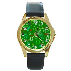 Green Xmas Pattern Round Gold Metal Watch by Valentinaart