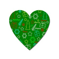 Green Xmas Pattern Heart Magnet by Valentinaart