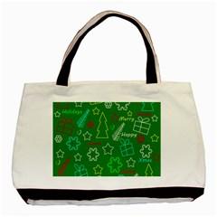 Green Xmas Pattern Basic Tote Bag by Valentinaart